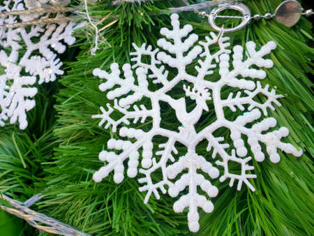 Decorated Christmas tree with snow flake, Holiday background, Happy New Year and Xmas