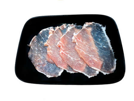 Top view of pork loin as a background in the market for sale at Thailand, isolated on white background, abstract Stock Photo