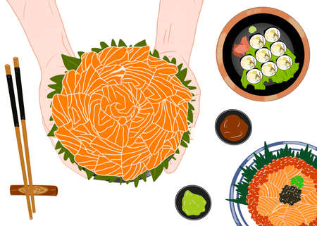 Japanese food style, Hand holding black bowl with salmon sashimi on set sushi roll (Maki sushi) and Salmon don as a background isolated on white background for Asian restaurant menu, Hand drawn
