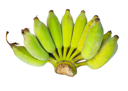 Bunch of banana isolated on white background, Top view, Pisang Awak banana