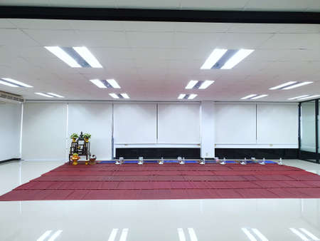 Interior view of seats for monks and people for religious ceremony, Meditation room, Religion concept 版權商用圖片