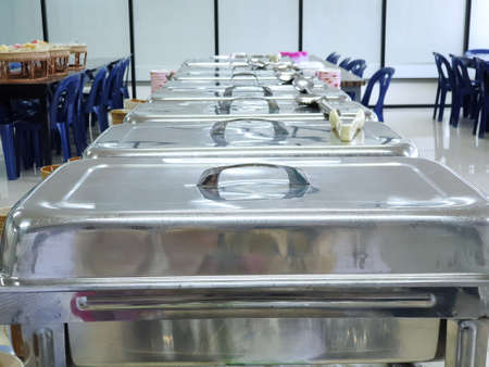 Catering food for dinner party or another catered event in restaurant, metal kitchen equipment