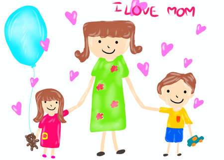 Hand drawn, Cartoon of mother and child isolated on white background, Mothers day concept