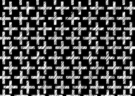 Hand drawn, Abstract monochrome background created with plus sign, carved crosses on black background, space