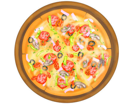 Italian food style, Top view of izza topping with mixed vegetables on wooden cutting board isolated on white background, Hand drawn of collection food concept, Great for menu