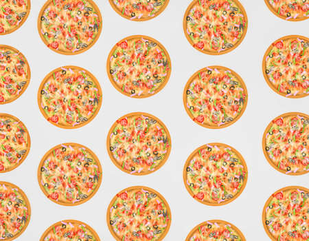 Italian food style, Pizza topping with mixed vegetables on gray background, Hand drawn of collection food concept, seamless pattern as a background Stock Photo