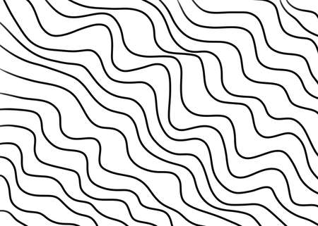 Hand drawn, Abstract monochrome wave pattern as a background, Coloring book page, Black simple lines pattern, isolated on white background