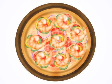Italian food style, Top view of pizza topping with shrimp and mixed vegetables on wooden cutting board isolated on white background, Hand drawn of collection food concept, Great for menu