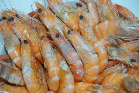 Top view of steamed shrimp isolated on white background, Ready to serve or eat, use for background Foto de archivo