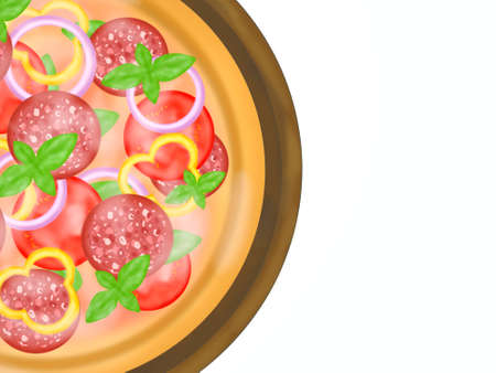 Italian food style, Top view of pizza topping with salami and mixed vegetables on wooden cutting board isolated on white background, Hand drawn of collection food concept, Great for menu, half