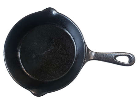 Top view of black pan isolated on white background, ready for use Stockfoto