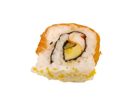 Japanese food style, Top view of salmon roll topped with beluga caviar and mayonnaise isolated on white background, Ready to eat or serve Banco de Imagens
