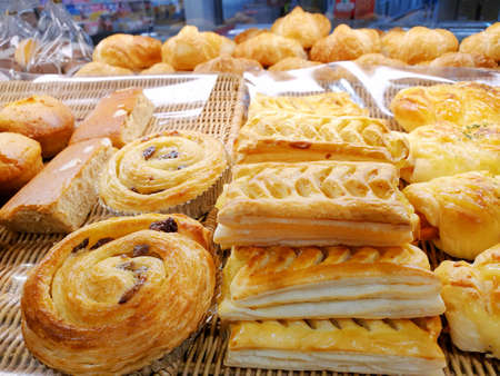 View of various pies appetizing confectioneries in pastry shop as a background, Ready to eat, Space for your text, For sale