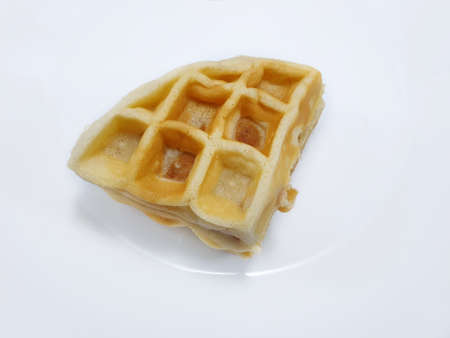 Top view of fresh baked waffle isolated on white background, Ready to eat or serve Stock fotó