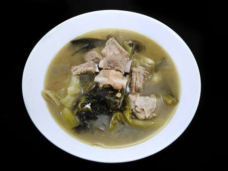 Thai food style, Top view of pork meat soup with vegetables in white bowl, healthy food concept, Ready to eat