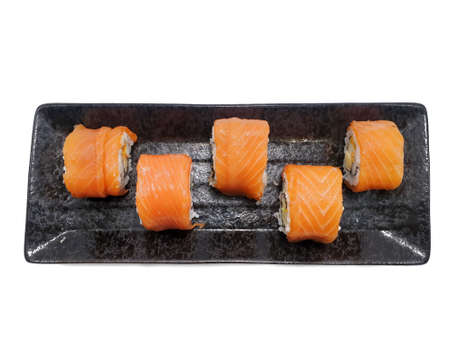 Japanese food style, Top view of salmon roll isolated on white background, Ready to eat or serve
