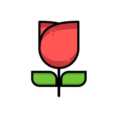 장미의 납작한 디자인