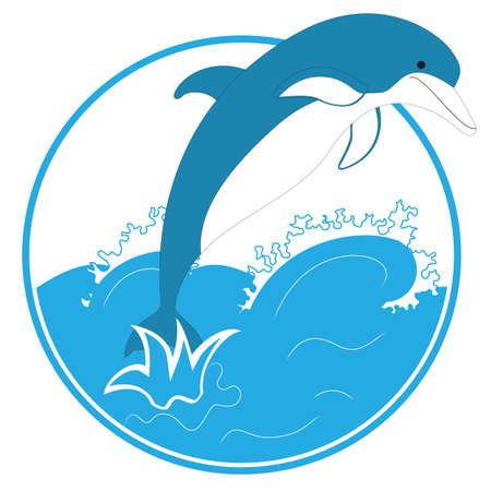 dolphin draw in sea background Vector