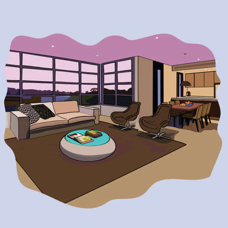 drawing room: Vector interior sketch design of  drawing room Illustration