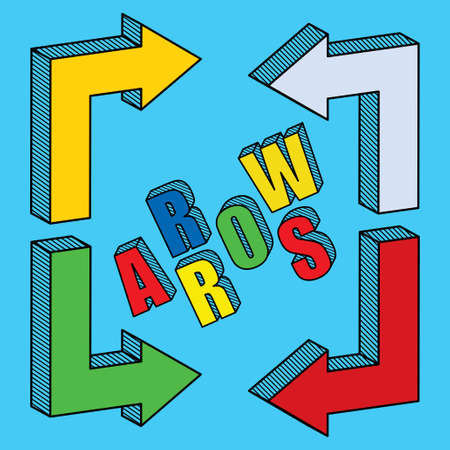 up and down: Set of arrows and directions, signs left, right, up down Illustration