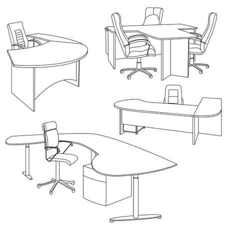 Schizzo interiore del posto di lavoro. Interni di ufficio disegnati a mano