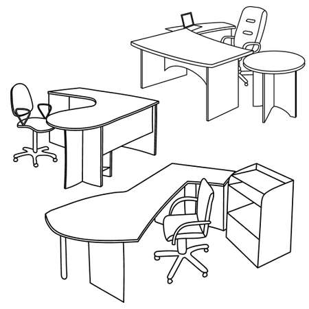 OFFICE DESK: Workplace interior sketch. Hand drawn office interior Illustration