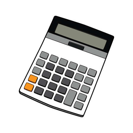 compute: electronic calculator vector illustration isolated on white background