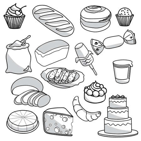 buns: Bakery and pastry products icons set with various sorts of bread, sweet buns, cupcakes, dough and cakes for bakery shop or food design Illustration