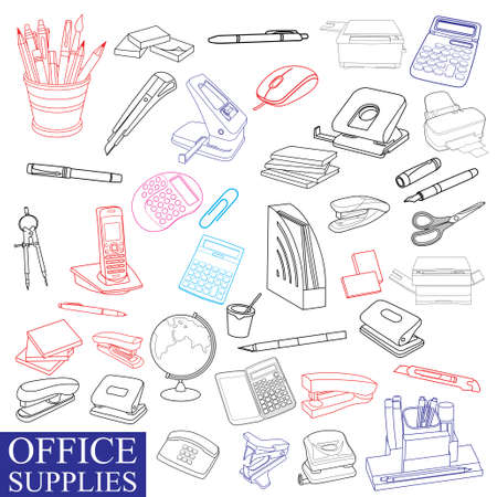 Office supplies and accessories illustration.