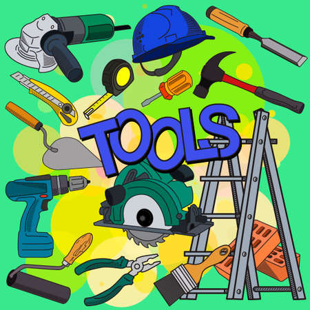 Working construction tools Illustration