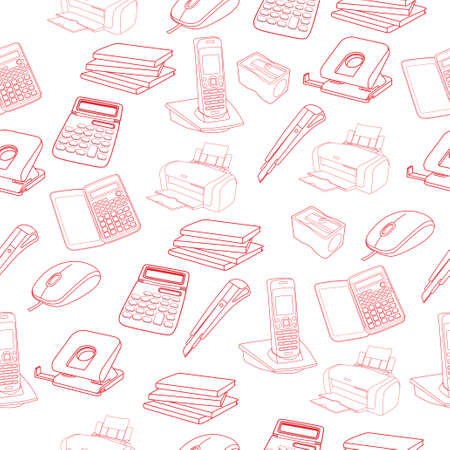 Print Sketch of business processes equipment, vector illustration with phone, calculator, mouse, printer. Illustration