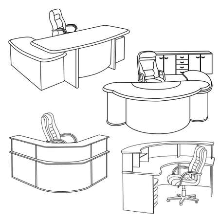Workplace interior sketch Vector illustration Illustration