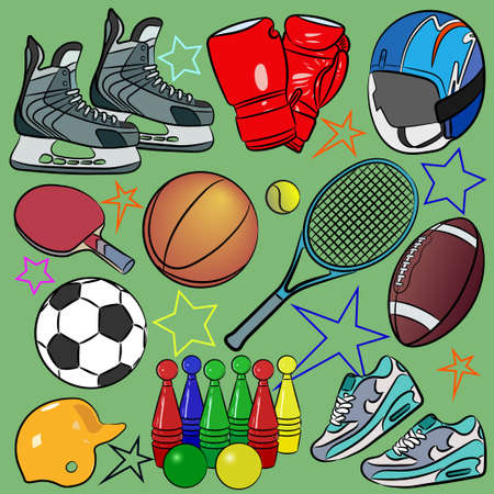 Cartoon vector illustration of sports equipment. Banque d'images - 95746757