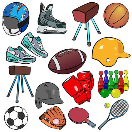 Cartoon vector illustration of sports items Banque d'images - 95746759