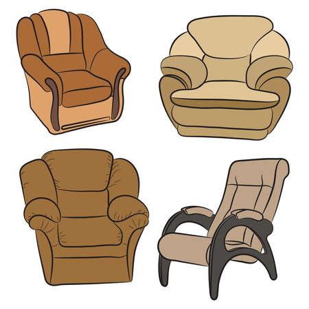 Set of armchairs vector illustration. Illustration