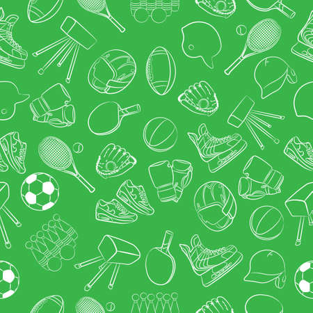 Cartoon vector illustration of sports equipment in green background. Banque d'images - 95746763
