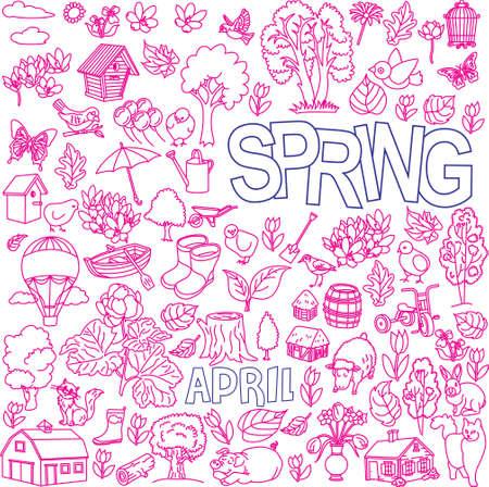 Spring doodles set in pink