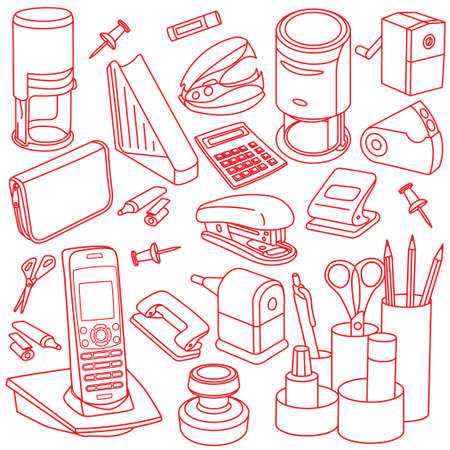 Office accessories line icons in red.