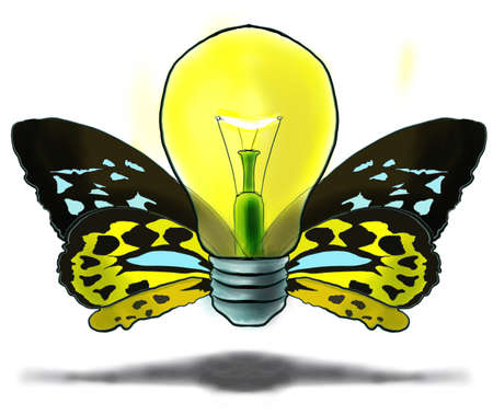 An illustration of a flying bulb-butterfly, made at corel painter illustration