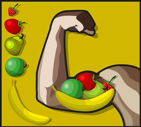 so that: A Vector illustration, which shows us that healthy food can make as strong. Also there is a pack of vegetables and fruits.Everithing ison separate layers so they can easily be moved or edited individually.