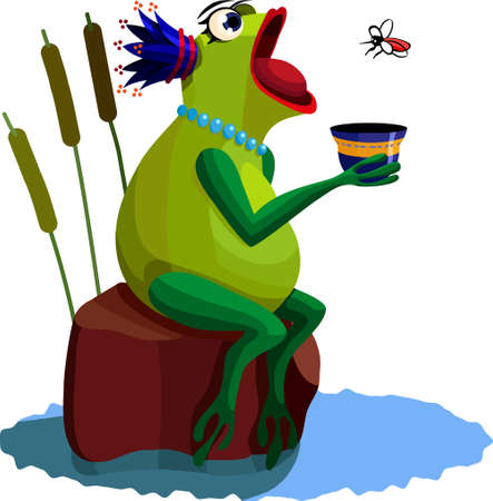blue frog: A vector illustration of a frog. All obgects can be moved edited and scaled separetly without quality loss.