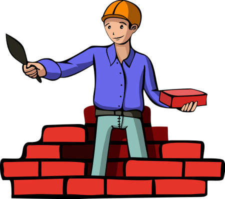 constructor: A vector illustration of a builder. All objects are separated, the can be scaled, edited or recolored for 5 minutes
