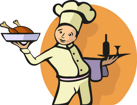 little chef: Avector illustration of a chef. All objects are separated, the can be scaled, edited or recolored for 5 minutes Stock Photo