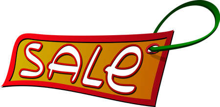 scaled: A vector image of a sale label. All objects are separated, the can be scaled, edited or recolored for 5 minutes