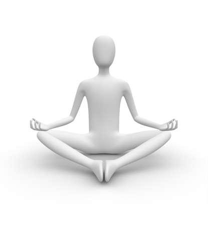 man meditating: Meditating 3D white man, isolated white background, 3d image