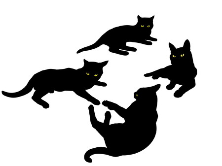 siluet: black siluetsof laying cats
