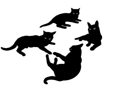 siluet: black siluetsof laying cats