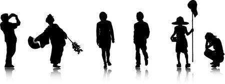 siluet: Black siluetsof japaneese people