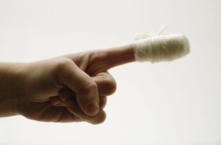 plea: laceration; finger; bandage; plea; hand; morning; wound; first aid; knife; treatment; medicine; background; blood; palm