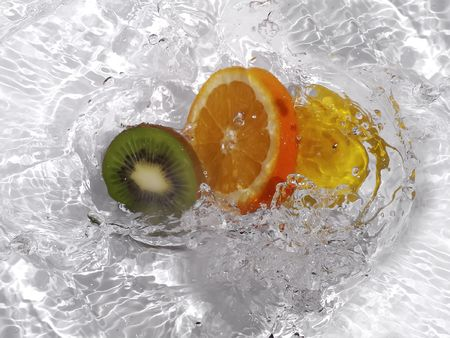 Fruits in water photo